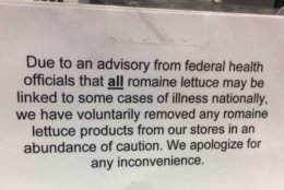 Giant is aware of the recall and has issued this notice at their Accokeek, Maryland, location. (WTOP/Darci Marchese)