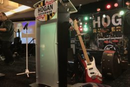 At the Hogan-Rutherford election night party in Annapolis, the band Kanye Twitty was setting up. (WTOP/Michelle Basch)