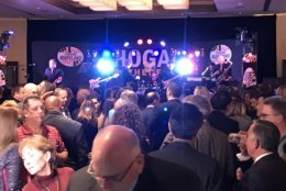 "The band was playing again at Hogan's re-election party Tuesday night ""until things are official."" (WTOP/Michelle Basch)"