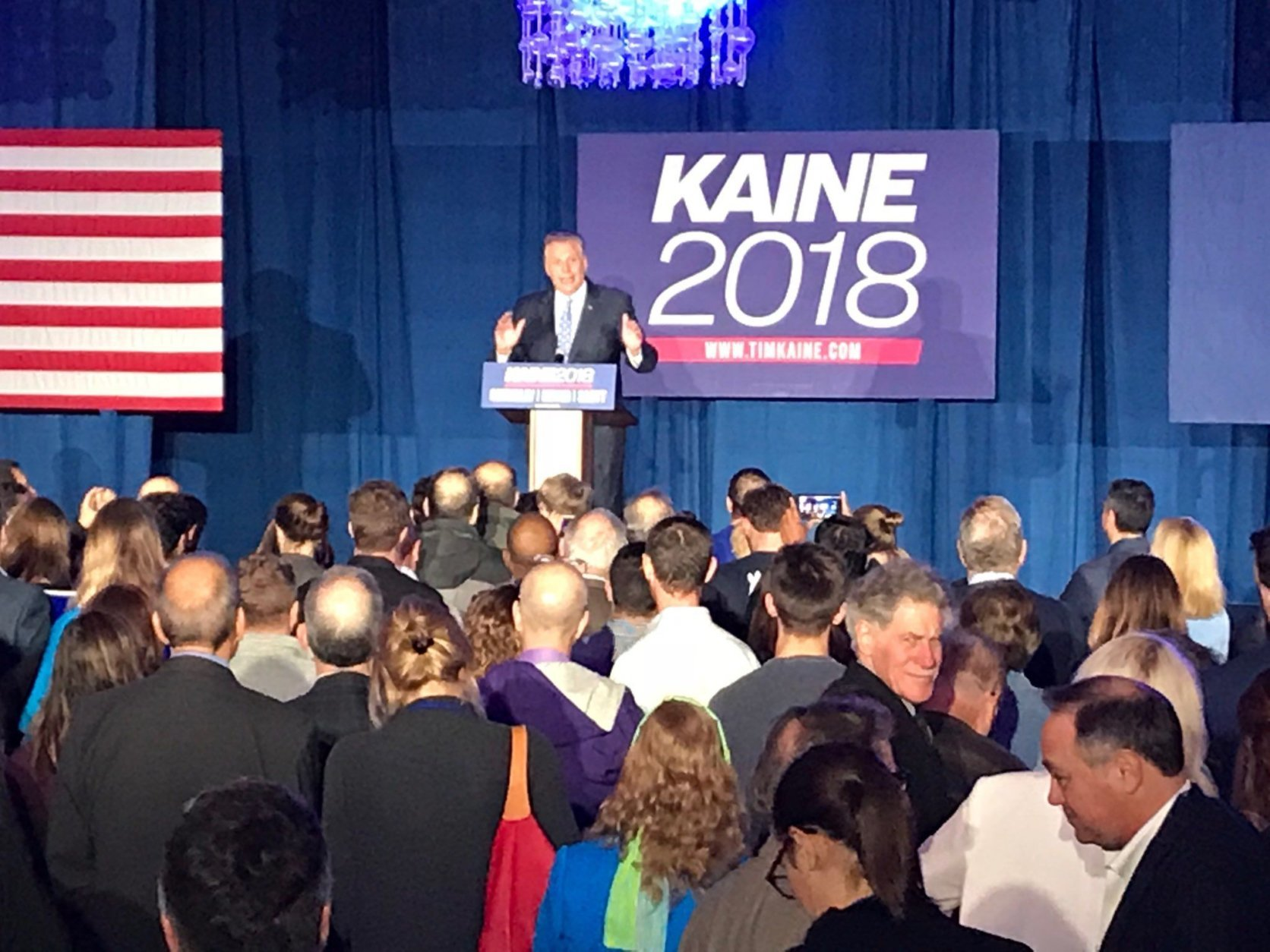 Virginia Democrats celebrated Sen. Tim Kaine's re-election with a who's who of the party's leaders in Falls Church, including former Gov. Terry McAuliffe. (WTOP/Mitchell Miller)