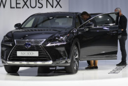 The new Lexus NX is on display during the first media day of the International Frankfurt Motor Show IAA in Frankfurt, Germany, Tuesday, Sept. 12, 2017, which runs through Sept. 24, 2017. (AP Photo/Martin Meissner)