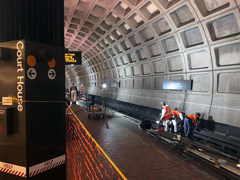 Trains single tracked between Foggy Bottom and Clarendon in Virginia so workers could install new track bed lighting. (WTOP/Megan Cloherty)