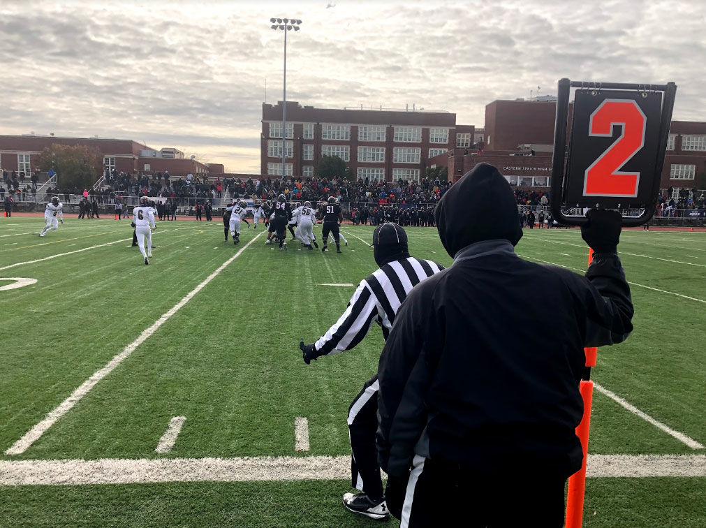 For H.D. Woodson and Ballou high schools' football teams, the game was a fight for the title of D.C.'s high school champions. (WTOP/Mike Murillo)