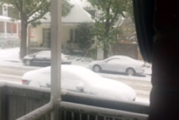 Snow piles up several blocks from downtown Frederick, Maryland, near Hood College. (Courtesy WTOP listener Ann)