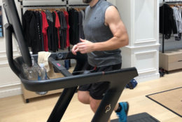 Peloton has a new treadmill for use at home, in addition to their well-known bikes. (WTOP/Dan Friedell)