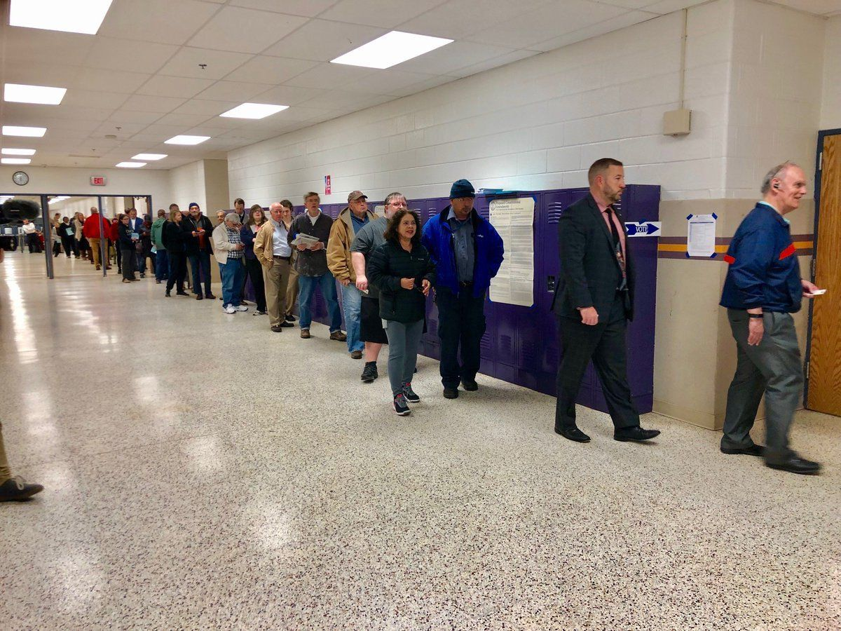 Voters line up to cast their ballots at the Lake Braddock Secondary School poll location in Fairfax County (Courtesy Fairfax County Government)