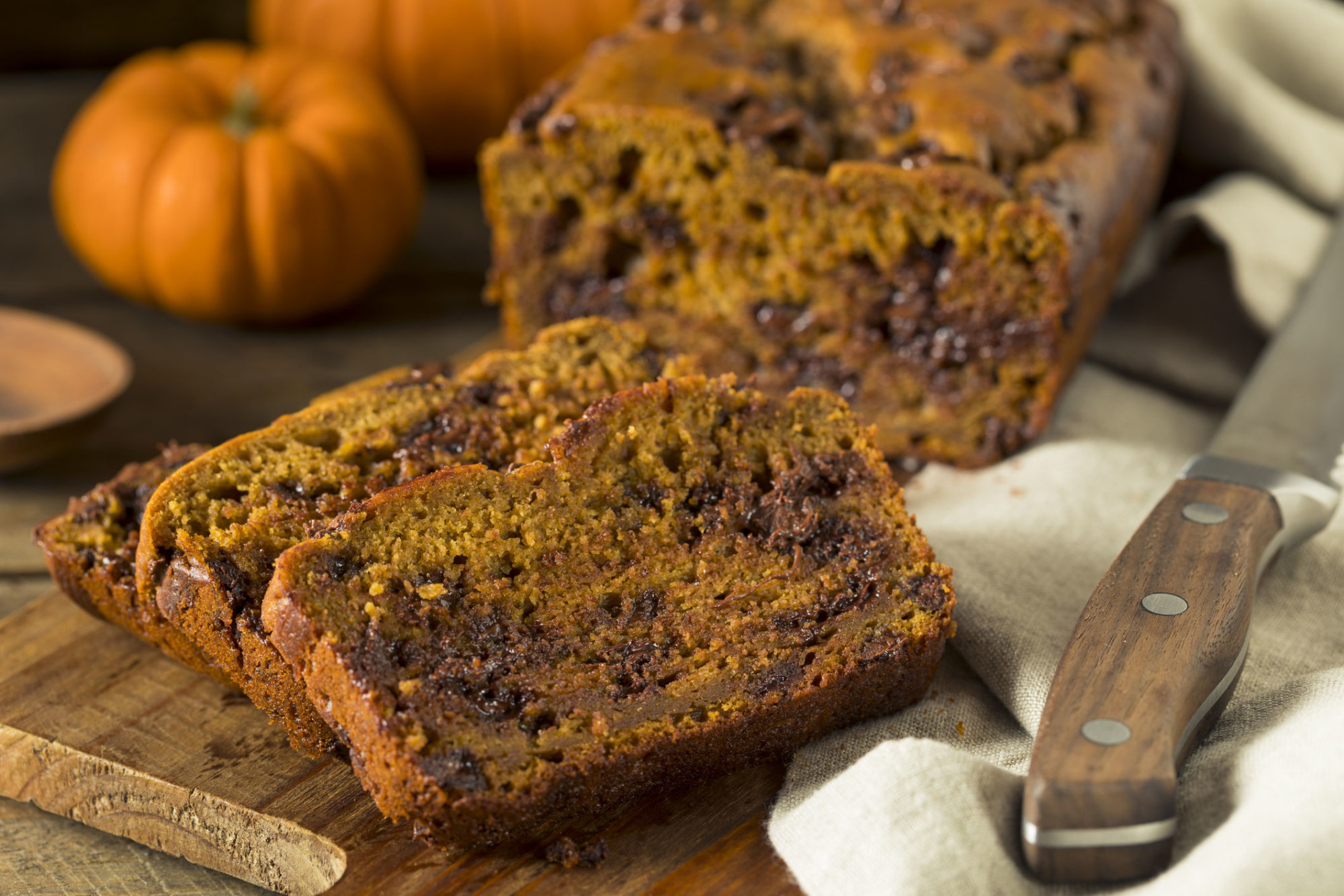 Homemade Chocolate Chip Pumpkin Bread Cut Into Slices