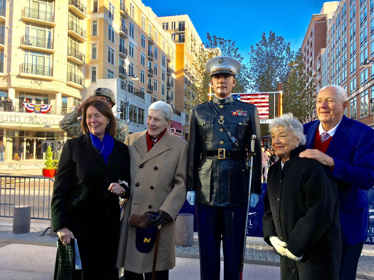 """Five time U.S. Senator John Warner of Virginia was a driving force to get the statues from the start. National Harbor developer Milt Peterson said Warner is the """"most patriotic person"""" he knows. (WTOP/Liz Anderson)"""