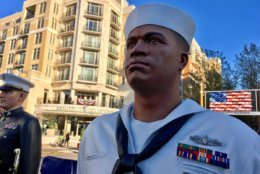 Sculptures representing the five branches of the U.S. Military are unveiled at National Harbor. (WTOP/Liz Anderson)