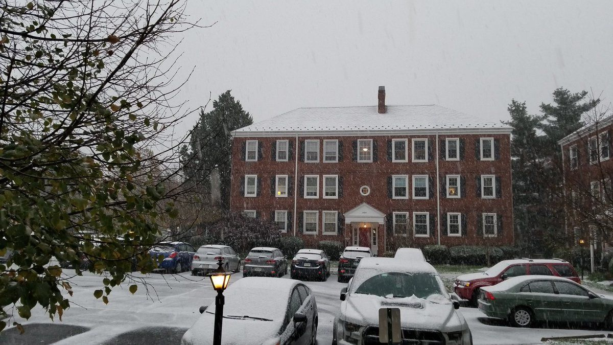 Snow falls in the Shirlington area. (Courtesy Matt Naslanic @BigMattyNsty via Twitter)