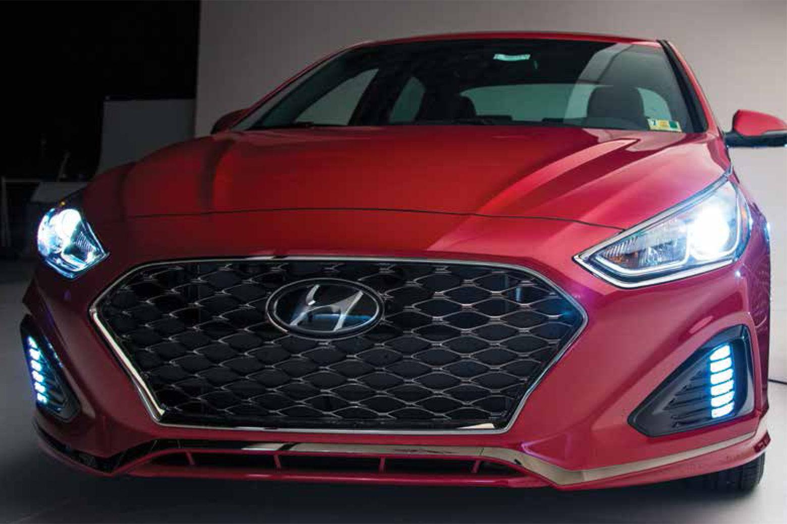 "A Hyundai Sonata with ""poor"" halogen projector headlights. (Courtesy IIHS)"