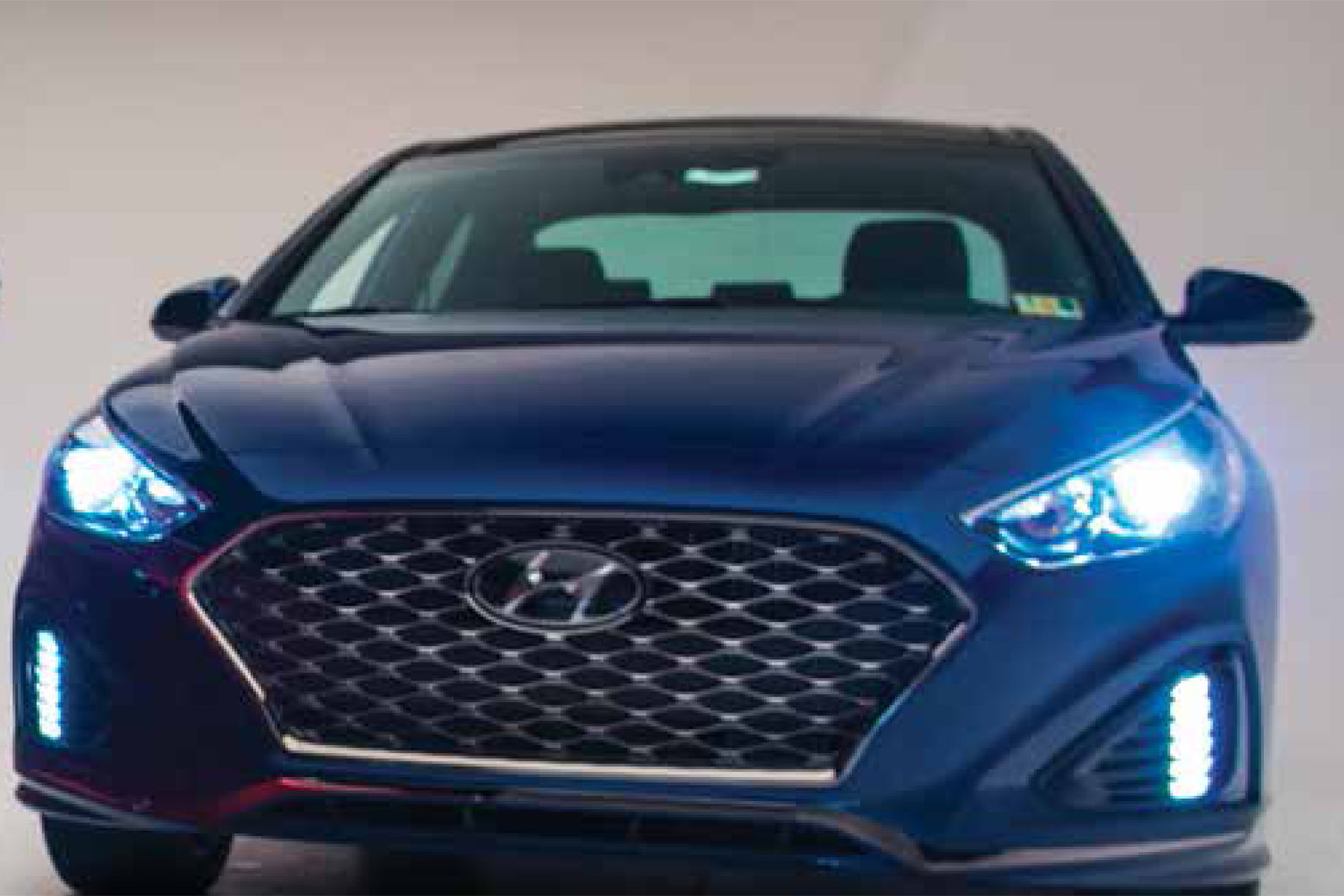 "A Hyundai Sonata with ""good"" LED projector headlights. (Courtesy IIHS)"
