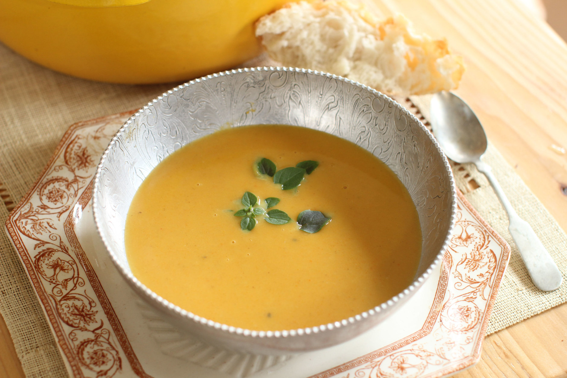 This Sept. 14, 2015 photo shows Indian butternut squash carrot soup in Concord, N.H. This dish is from a recipe by Katie Workman. (AP Photo/Matthew Mead)