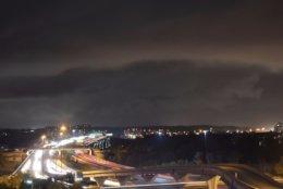 Heavy rain and gusty winds sweep over the Woodrow Wilson Bridge on Friday, Nov. 2, 2018. (WTOP/Dave Dildine)