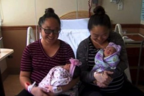 Identical twins in California give birth to daughters hours apart