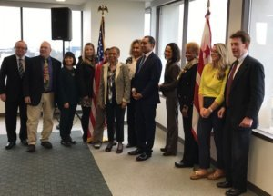 D.C. Del. Eleanor Holmes Norton (6th from left) and D.C. Attorney General Karl Racine (5th from right) are supporting D.C. residents and advocates who filed a suit for voting rights in Congress.
