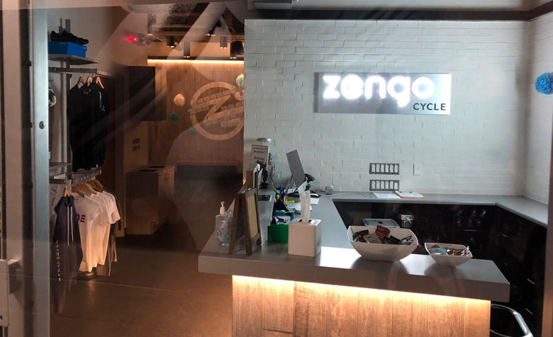 A look at the Zengo Cycle waiting area at Cathedral Commons in Northwest D.C. (WTOP/Dan Friedell)