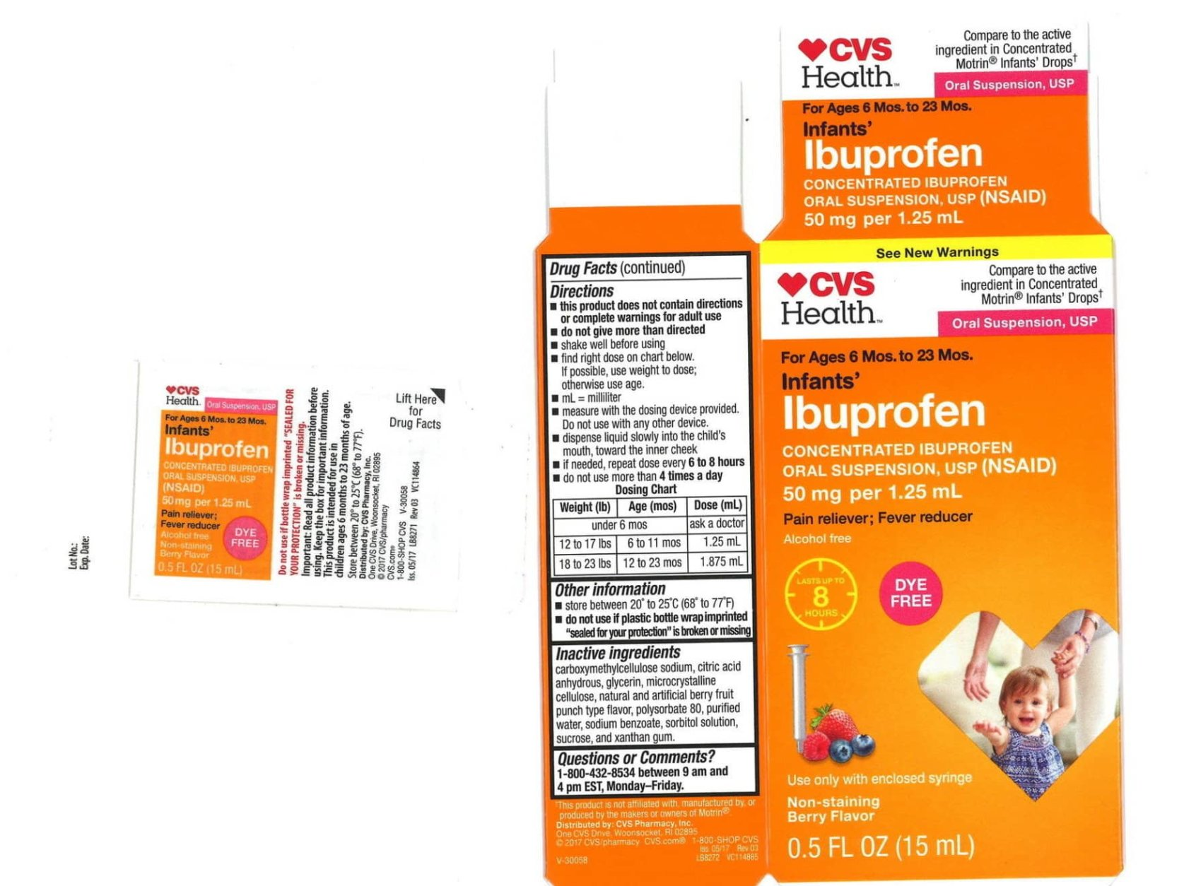 An example of the recalled liquid ibuprofen packaging found at CVS stores. (Tris Pharma, Inc./Hand-out)