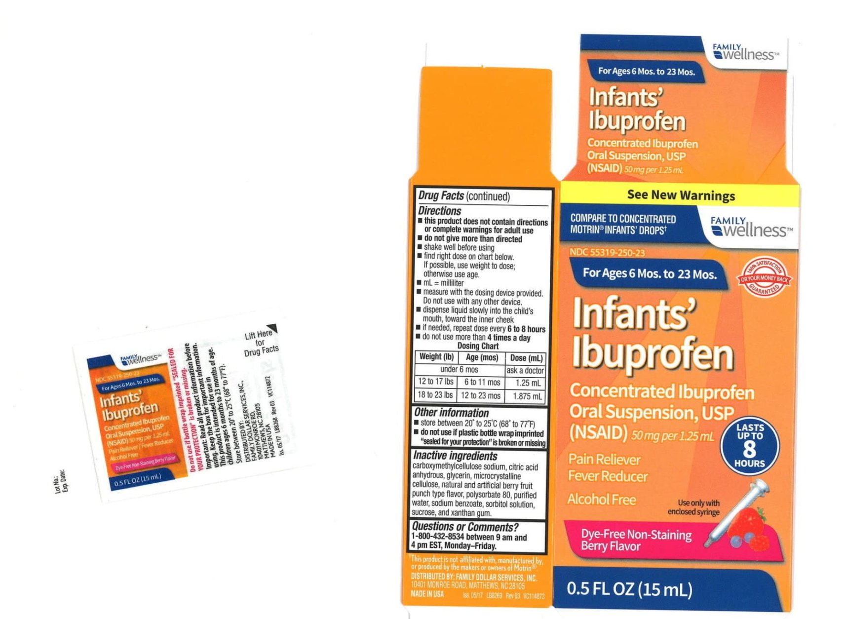 An example of the recalled liquid ibuprofen packaging found at Family Dollar. (Tris Pharma, Inc./Hand-out)
