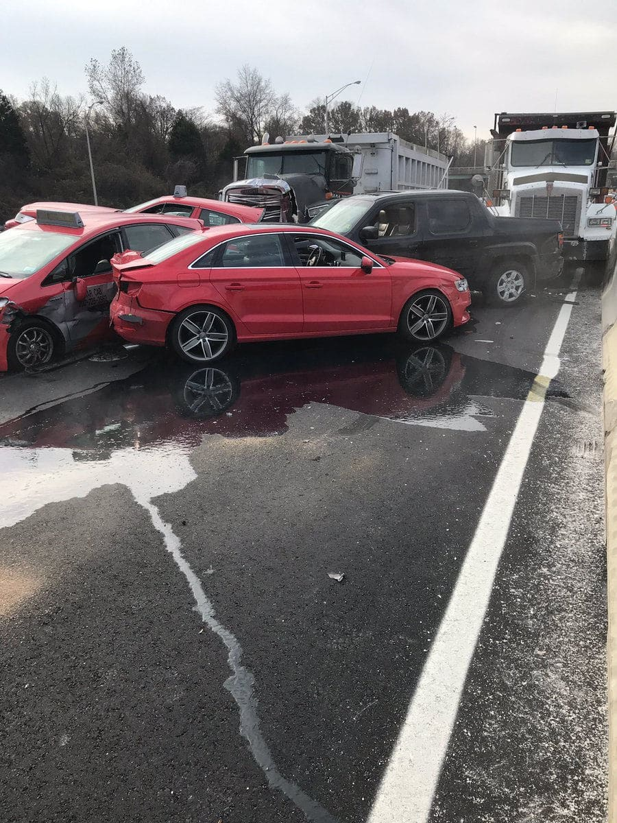 Crews in Arlington County responded to a crash in the HOV lanes of Interstate 395 in Shirlington, Virginia, Monday morning that involved several cars, including two taxis. (Courtesy Arlington County Fire Department)