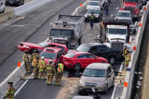 HOV lanes in Shirlington reopen after 10-vehicle crash on I-395