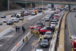 The crash caused backups behind the crash as police worked to divert traffic. (Courtesy Thomas Philibin/Live Wire Media Relations)