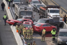 The crash involved a total of 10 vehicles, authorities said, including two taxis and a dump truck. (Courtesy Thomas Philibin/Live Wire Media Relations)