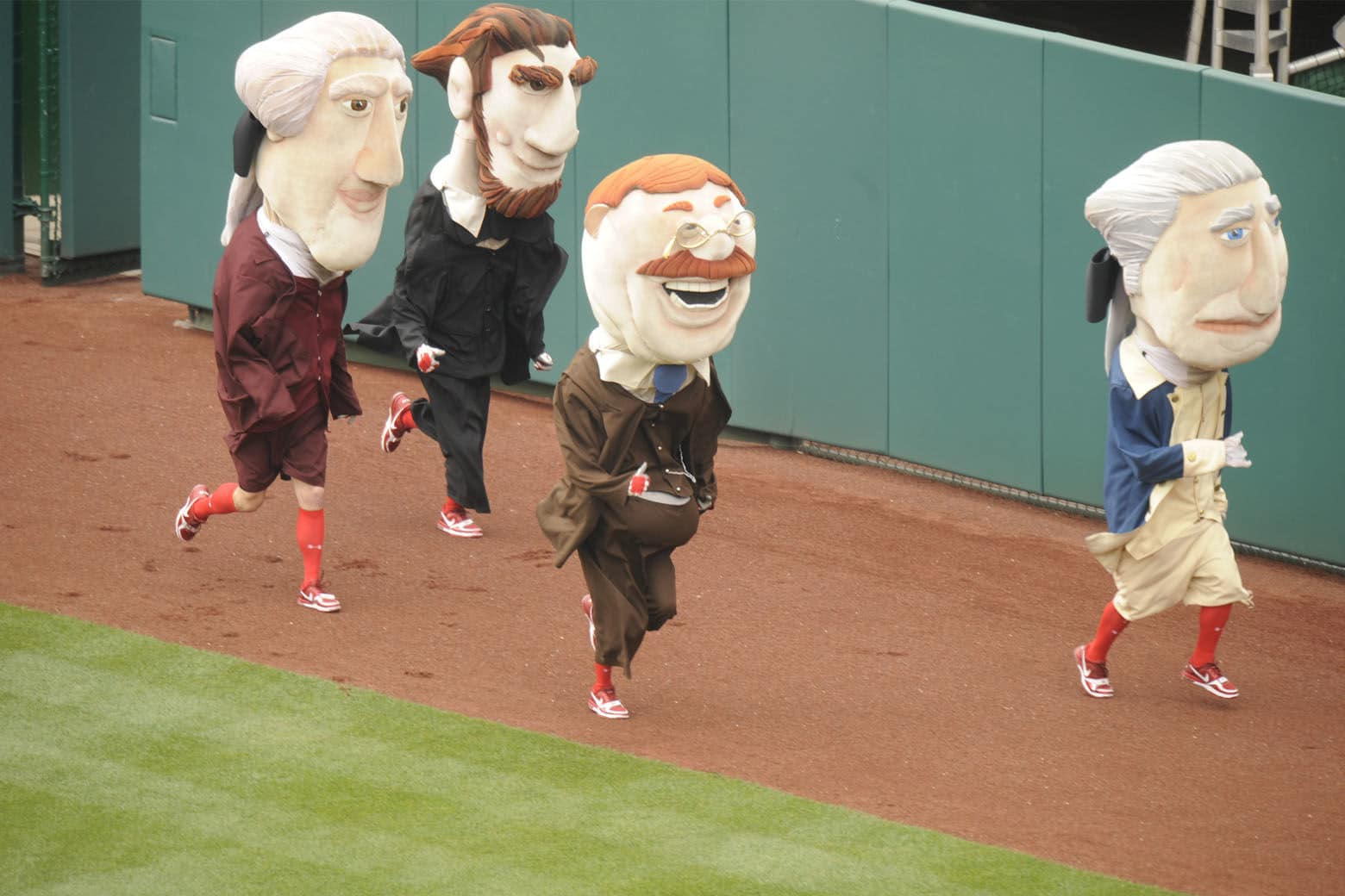 The presidential mascots, who have been a beloved part of the Nationals game-day experience since 2006, race during the fourth inning of every home game. (Courtesy the Nationals)