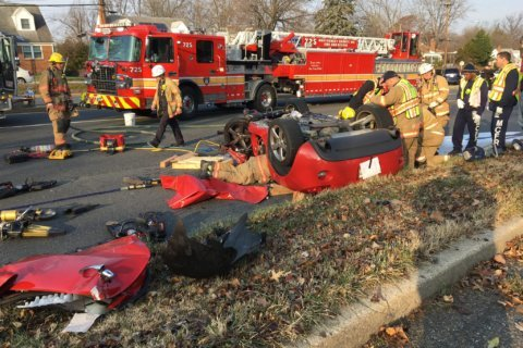 1 injured, car overturned in Connecticut Ave. crash