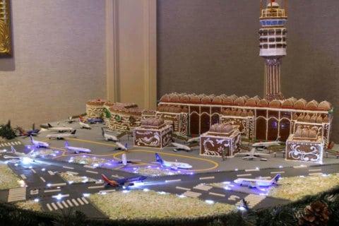 Miniature gingerbread model of Reagan National Airport at DC hotel wins award