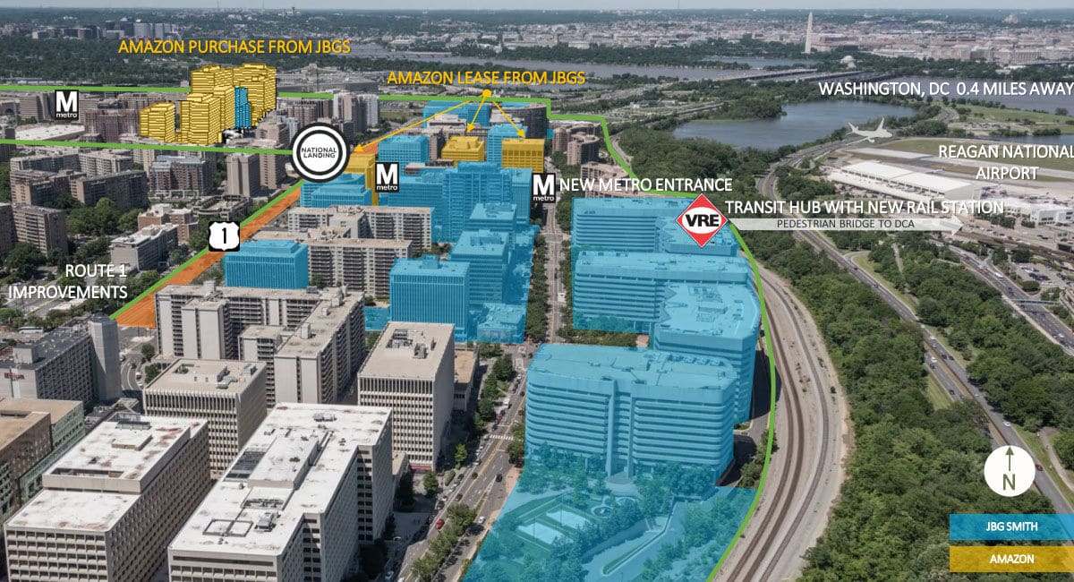 A graphic showing JBG Smith and Amazon's buildingsin Crystal City. (Courtesy JBG Smith)