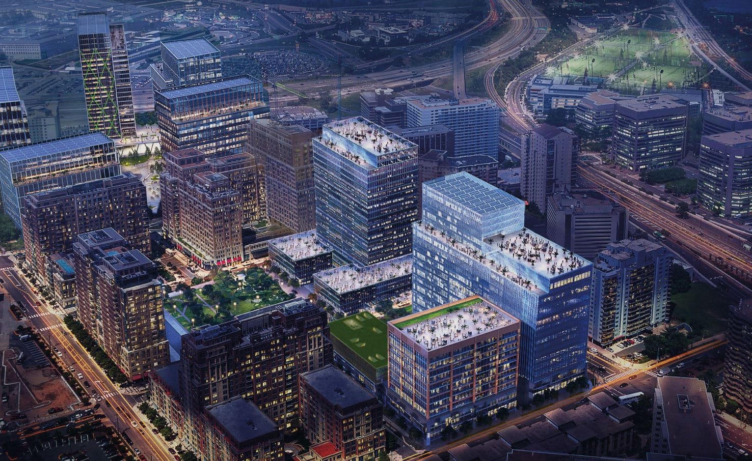 Renderings of the future home of HQ2 in Virginia, National Landing. (Courteys JBG Smith)