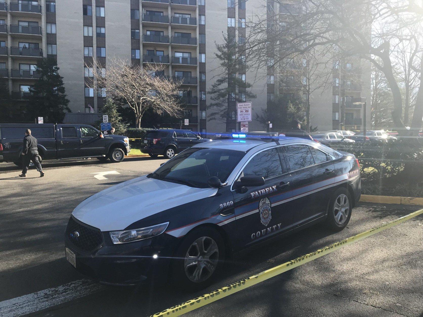 Fairfax County police on the scene where two men where shot dead Tuesday, Dec. 18, 2018. (Courtesy Fairfax County police)