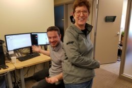 WTOP's Judy Taub with movie buff and entertainment editor Jason Fraley. (WTOP/Will Vitka)