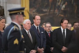 "Golfer Hale Irwin, retired quarterback Peyton Manning and golfer Phil Mickelson attend the lying-in-state for the late President George H.W. Bush on December 4, 2018. (Courtesy Shannon Finney/<a href=""https://www.shannonfinneyphotography.com/index"" target=""_blank"" rel=""noopener noreferrer"">shannonfinneyphotography.com</a>)"