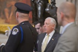 """House Minority Whip Steny Hoyer attends the lying-in-state for the late President George H.W. Bush on December 4, 2018. (Courtesy Shannon Finney/<a href=""""https://www.shannonfinneyphotography.com/index"""" target=""""_blank"""" rel=""""noopener noreferrer"""">shannonfinneyphotography.com</a>)"""