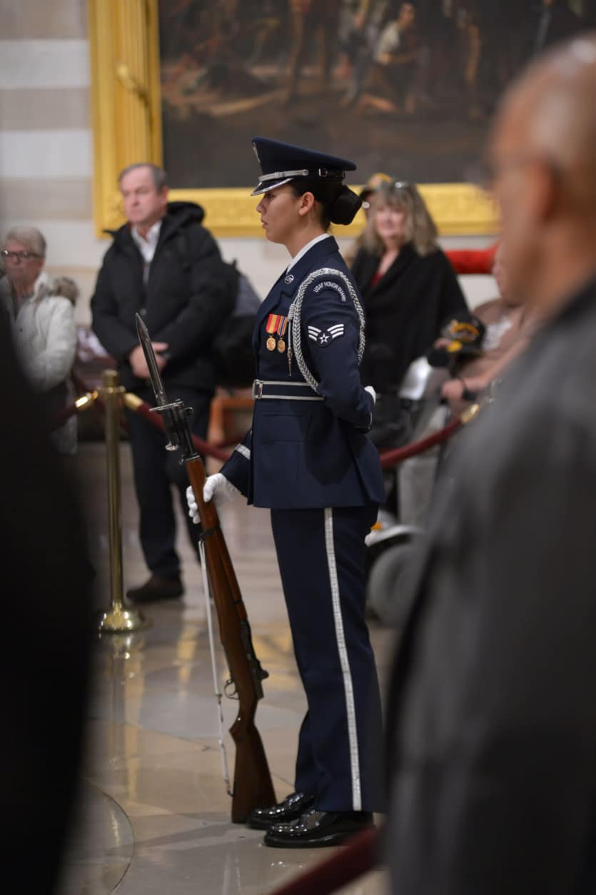 "A United States Air Force Honor Guard at the Capitol Rotunda as 41st President George H.W. Bush lies in state. (Courtesy Shannon Finney/<a href=""https://www.shannonfinneyphotography.com/index"" target=""_blank"" rel=""noopener noreferrer"">shannonfinneyphotography.com</a>)"