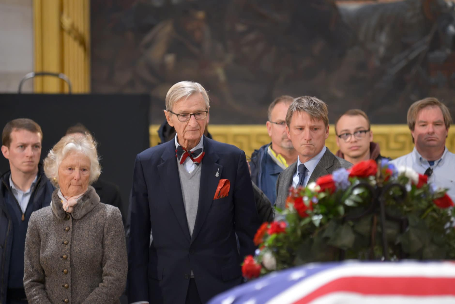 "Jonathan Bush (middle), brother of the late President George H.W. Bush; wife Jody Ellis (left); and son Jonathan S. Bush (right) attend the lying-in-state for President George H.W. Bush on December 4, 2018. (Courtesy Shannon Finney/<a href=""https://www.shannonfinneyphotography.com/index"" target=""_blank"" rel=""noopener noreferrer"">shannonfinneyphotography.com</a>)"
