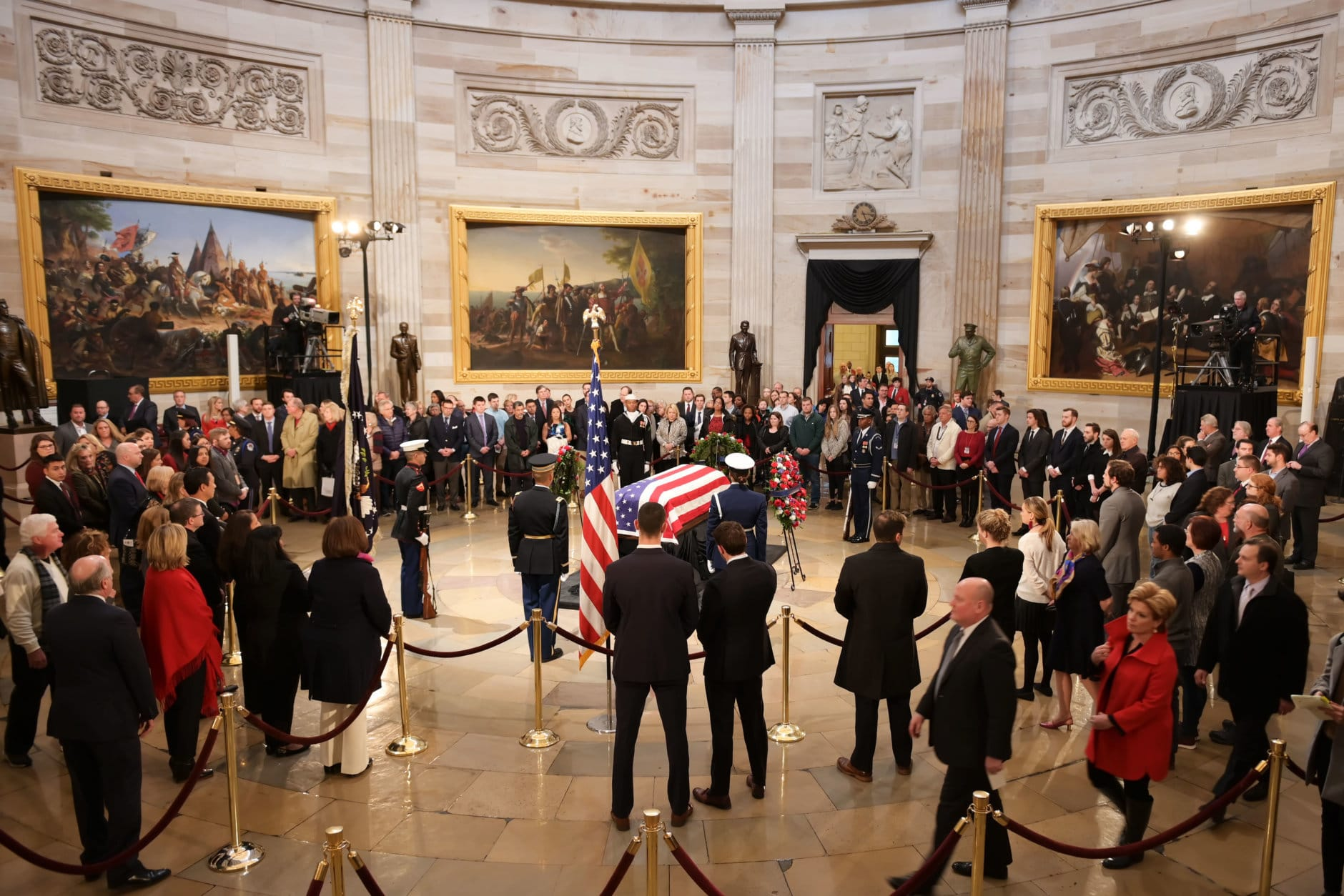 "A crowd at the Capitol Rotunda as President George H.W. Bush lies in state at the U.S. Capitol Rotunda. (Courtesy Shannon Finney/<a href=""https://www.shannonfinneyphotography.com/index"" target=""_blank"" rel=""noopener noreferrer"">shannonfinneyphotography.com</a>)"