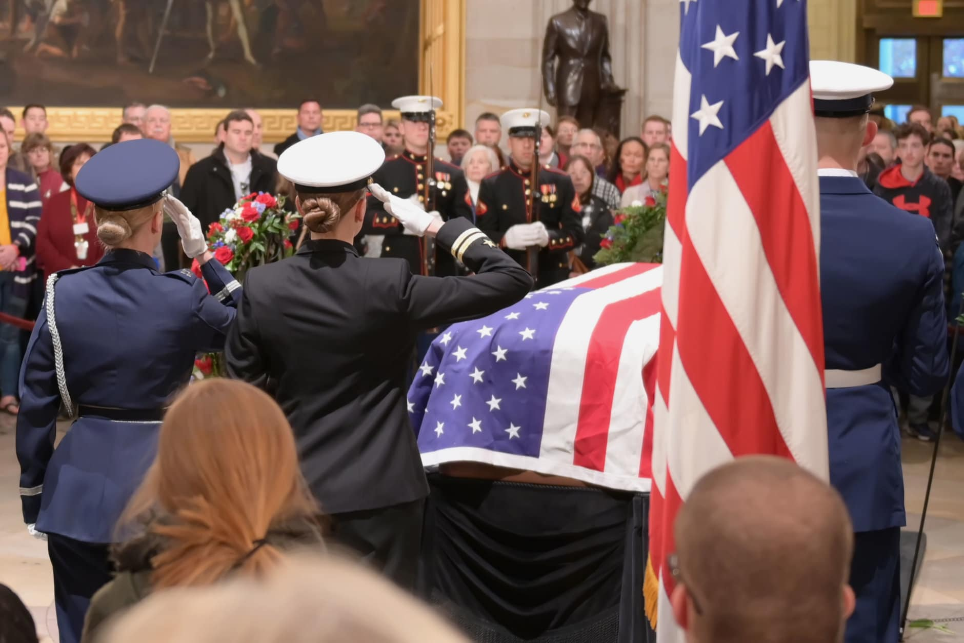 "Soldiers exchange a salute during the Changing of the Guard at the late President George H.W. Bush's lying-in-state on December 4, 2018. (Courtesy Shannon Finney/<a href=""https://www.shannonfinneyphotography.com/index"" target=""_blank"" rel=""noopener noreferrer"">shannonfinneyphotography.com</a>)"