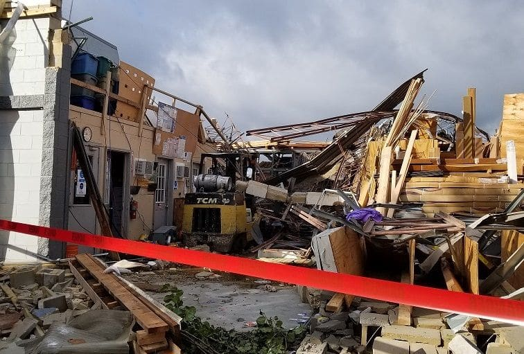 A swarm of damaging tornadoes struck central Virginia on September 17. The tornadoes were spawned by the remnant swirl of Hurricane Florence and came 14 years to the day after Virginia's largest tornado outbreak on record. An EF-2 tornado with winds estimated around 120 was responsible for the death of a Chesterfield man when the warehouse he was in collapsed. (NWS Wakefield, Va.)