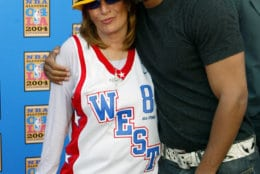 Actor Will Smith and basketball fan and director Penny Marshall arrive at Staples Center for the NBA All-Star game Sunday, Feb. 15, 2004, in Los Angeles.  (AP Photo/Nam Y. Huh)