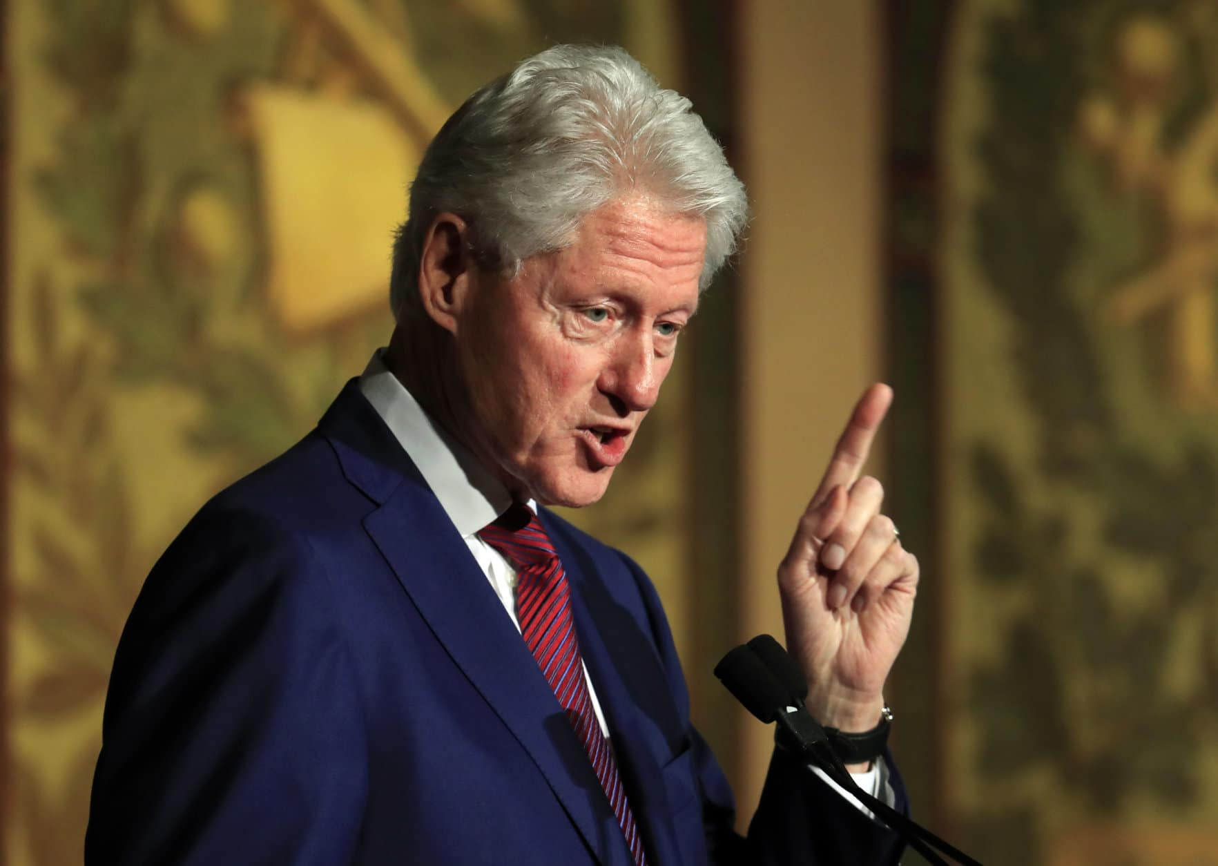"FILE - In this Nov. 6, 2017, file photo, former President Bill Clinton speaks at a symposium in Georgetown University in Washington. Democrats have been quick to support the ""me too"" chorus of women _ and some men _ who have stepped up to allege sexual misconduct and name names. But now ""me too"" stains the Democrats, too, putting them in an awkward place as they calibrate how forcefully to respond.(AP Photo/Manuel Balce Ceneta)"