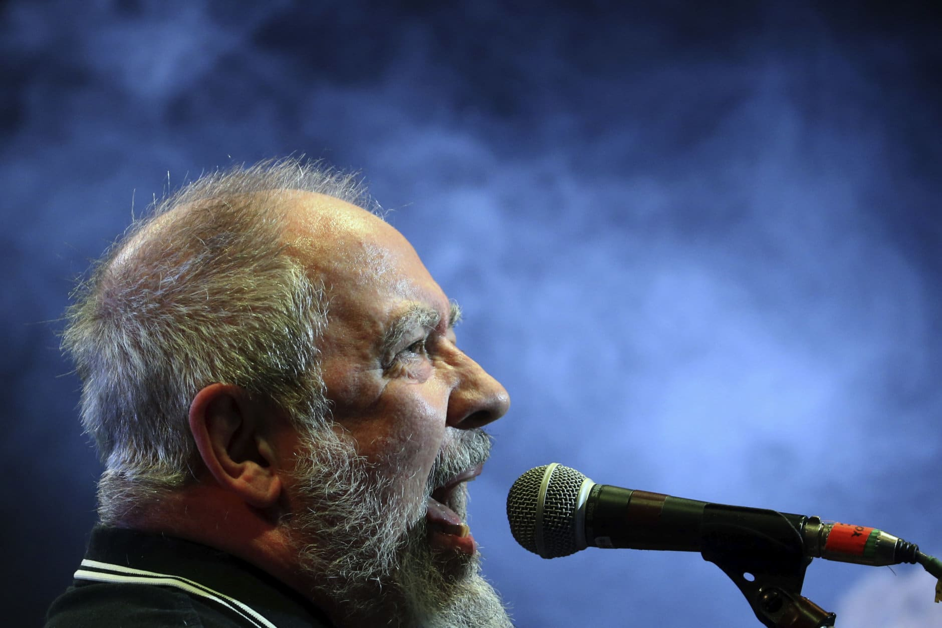 Frontman Pete Shelley of the British punk band Buzzcocks, performs at Plaza Condesa in the 6th edition of the Marvin Festival, in Mexico City, Saturday, May 19, 2018. Shelley died Dec. 6, 2018, at age 63. (AP Photo/Marco Ugarte)