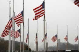 With a misty U.S. Capitol in the distance, the American flags surrounding the Washington Monument fly at half-staff, Saturday, Dec. 1, 2018, in Washington, after President Donald Trump directed that American flags be flown at half-staff for 30 days to honor the memory of former President George H.W. Bush. (AP Photo/Jacquelyn Martin)