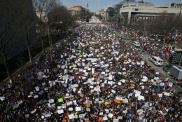"Looking west toward the White House, people fill Pennsylvania Avenue in Washington during the ""March for Our Lives"" rally in support of gun control on March 24, 2018. The rally was organized following the mass shooting that killed 17 people at Marjory Stoneman Douglas High School in Parkland, Fla., on Feb. 14. (AP Photo/Alex Brandon)"