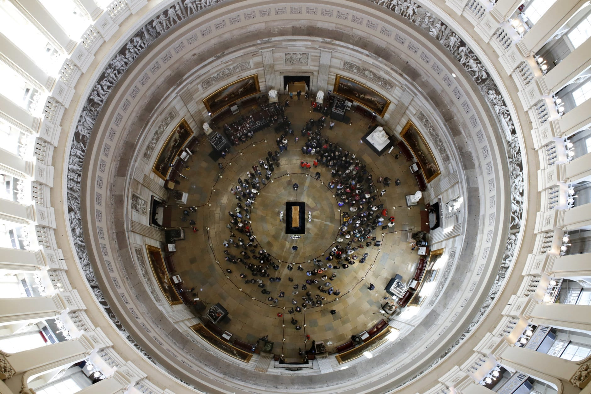 Visitors pay their respects as the casket of Reverend Billy Graham lies in honor at the Rotunda of the U.S. Capitol Building in Washington on Feb. 28, 2018. (AP Photo/Jacquelyn Martin)