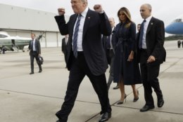 President Donald Trump and first lady Melania Trump arrive at Johnstown, Pa., on Sept. 11, 2018, before Trump's speech during the September 11 Flight 93 Memorial Service in Shanksville, Pa. (AP Photo/Evan Vucci)