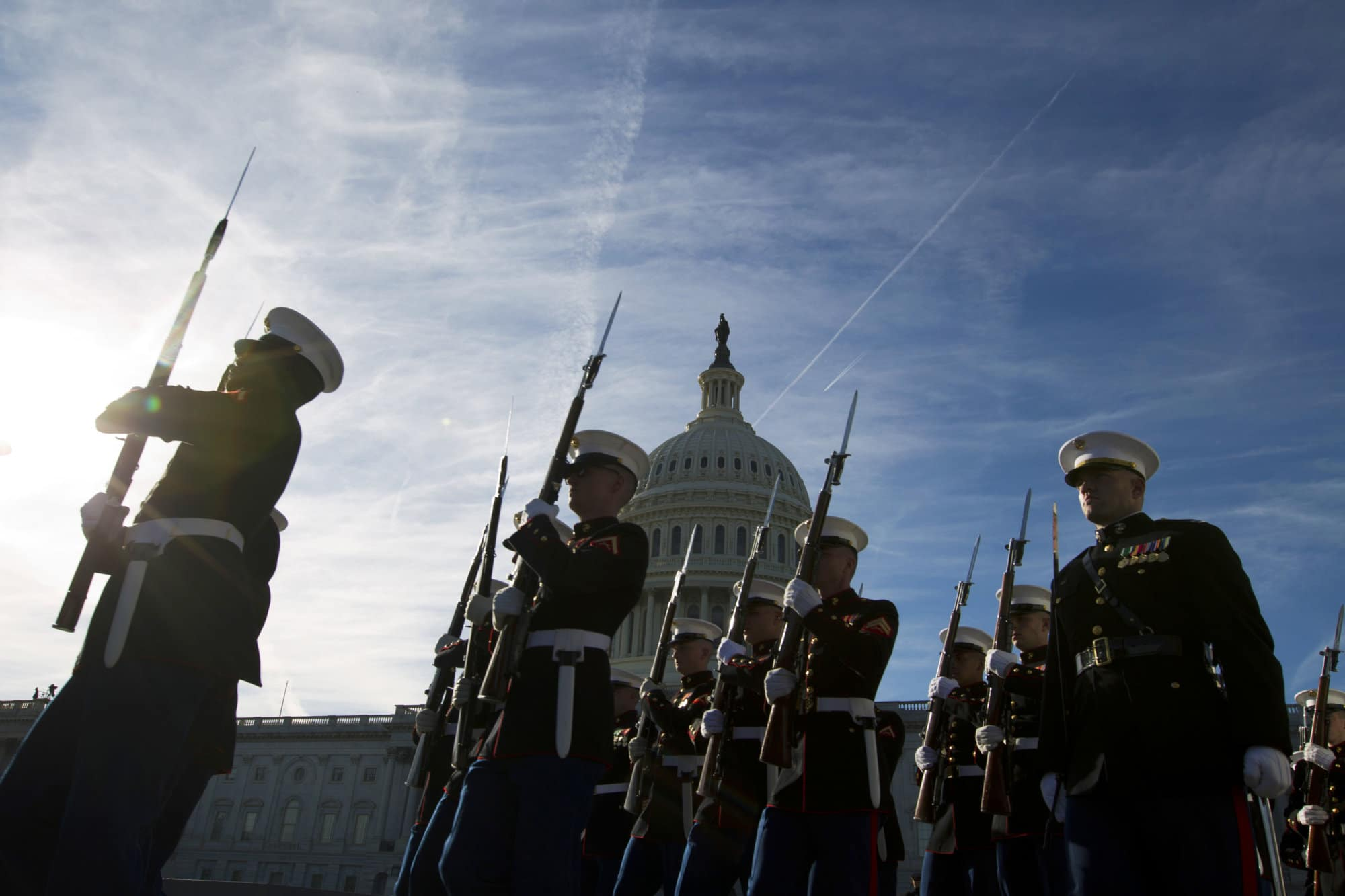 Marine honor guard prepares for the arrival of former President George H. W. Bush, Monday, Dec. 3, 2018, at U.S Capitol in Washington.  Bush arrives back to Washington for a final time Monday, heading for the Capitol to lie in state as the nation paid tribute to the 41st president for a lifetime of service.  (AP Photo/Jose Luis Magana)