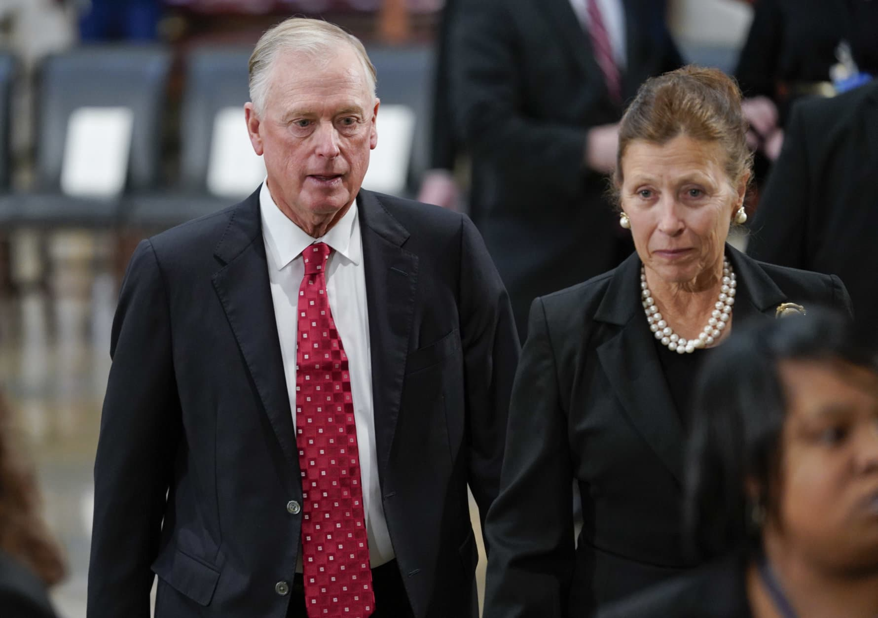 Former Vice Presidents Dan Quayle, left, and his wife Marilyn, right, arrive at the Capitol in Washington to attend services of former President George H.W. Bush, Monday, Dec. 3, 2018. (AP Photo/Pablo Martinez Monsivais/Pool)